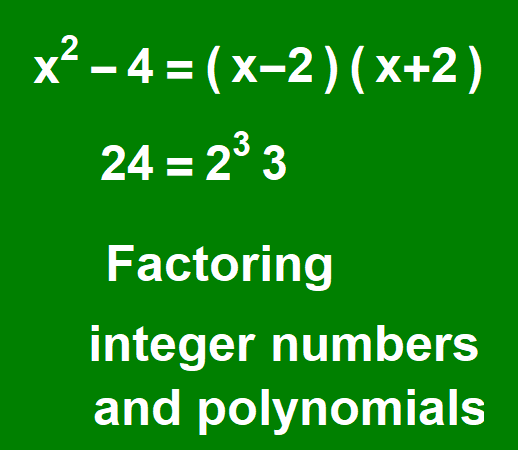 Factoring integer numbers and polynomials
